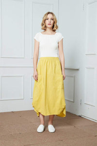 Linen midi Skirt, yellow linen skirt, Asymmetrical Skirt, womens skirts, skirt with big pockets, summer skirt, elastic waist skirt C338