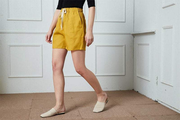 Linen shorts, yellow shorts, Summer Womens Shorts, linen Casual Shorts, Elastic Waist Shorts, Linen Drawstring  Shorts, pockets shorts C1394