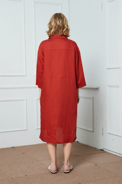 Red linen loose shirt, woman long shirt, oversized linen shirt, linen blouse, linen Casual Women Long Sleeve Button Down Shirt Dress C1418
