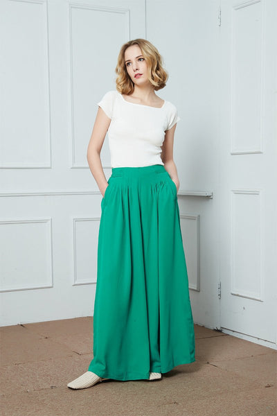 Wide-Legs Chiffon Long Pants, Pleated Wide Leg Pants, green chiffon maxi pants, Chiffon casual womens pants, summer pants for womens C1387