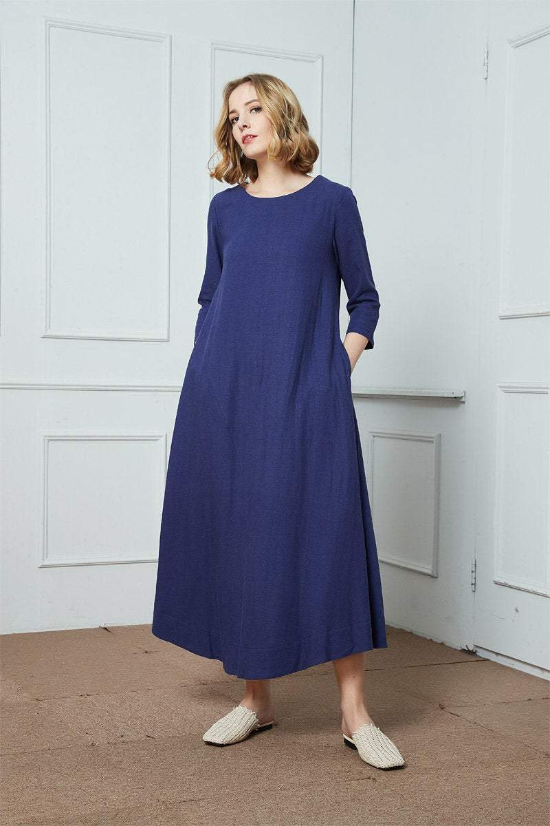 Linen dress, maxi linen dress, loose linen dress, summer dress, blue linen dress, dress with pockets C1420