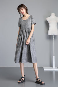 short sleeve linen midi dress C1254#