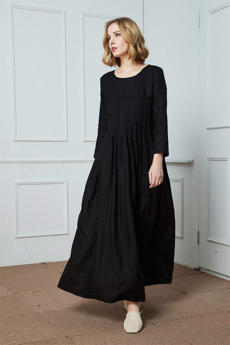 Linen dress, black linen dress, linen pleated dress, maxi linen dress, womens dresses, linen casual dress, pockets dress C1412