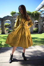 Load image into Gallery viewer, Greenish mustard dress, linen dress, oversized linen dress, linen casual dress, drawstring waist dress, midi dress, womens dresses C1488