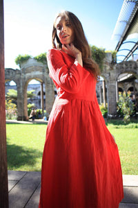 Linen dress, simiple linen dress, long linen dress, womens dress, red dress, pleated dress, pockets dress C1501