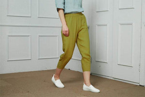 Classic minimal linen pants, Women's trousers with an elastic waist, Tapered Linen Pants with pocket, Linen pantaloons, Mid rise waist C1479