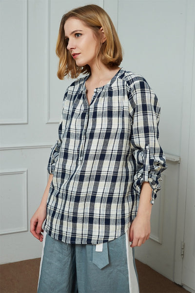Courier Button-Back Shirt in lattice-Play, Button-Back lattice top, womens linen shirt, linen casual shirt C1462