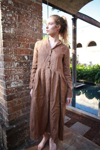 Brown linen dress, linen shirt dress, shirt dress women, simiple linen dress, womens shirt dress, linen casual dress C1493