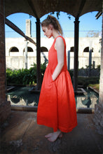 Load image into Gallery viewer, Linen dress, orange Linen Dress, Maxi Neutral Color V-neck Sleeveless Loose-Fitting Summer Dress with Pocket C1492