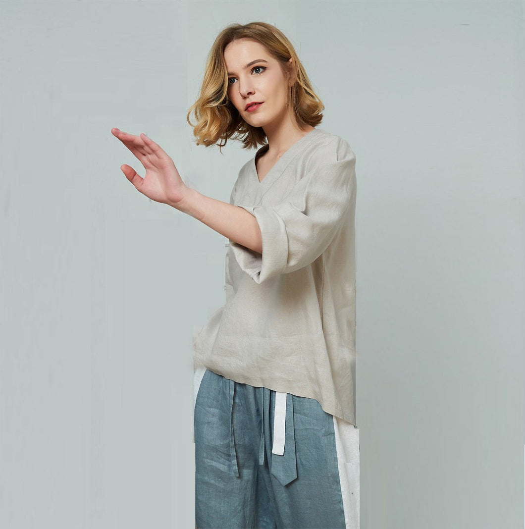 Linen v-neckline top, classic collar top, womens linen top, linen top, grey linen top, womens top, oversized linen top C1461