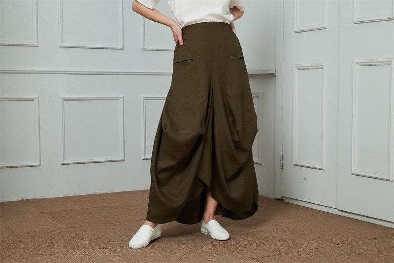 Linen Irregular Fold Loose Plus Size Skirt, Long linen skirt, green linen skirt, pockets skirt, womens skirt  C1463