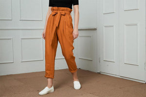 High-Waisted Linen Pants, linen tapered pants with rope belt, womens linen pants, long linen pants C1421