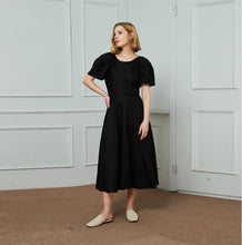 Load image into Gallery viewer, Linen dress, black dress, black linen dress, midi linen dress, womens dresses, long linen dress, summer dress, linen clothing C1475