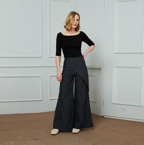 linen pants, stripe linen pants, long leg pants, width linen pants, fashion linen pants, handmade linen pants C1453
