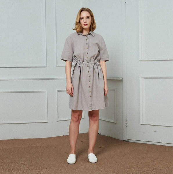 linen dress, gray linen dress, buttons linen dress, midi linen dress, fashion linen dress, linen dress for women C1455