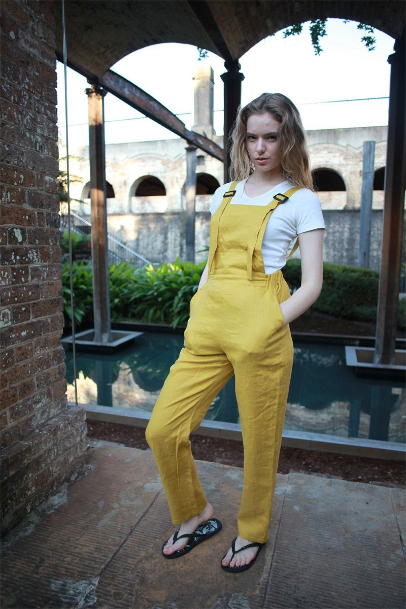 yellow linen pants, linen jumpsuit, casual linen pants, linen pants for women, yellow Bib linen pants, handmade linen pants C1502