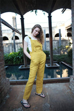 Load image into Gallery viewer, yellow linen pants, linen jumpsuit, casual linen pants, linen pants for women, yellow Bib linen pants, handmade linen pants C1502