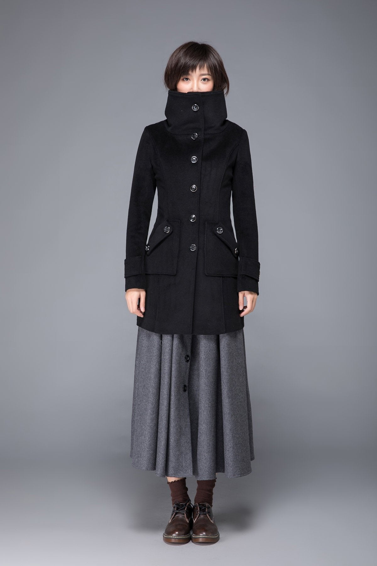 black coat, wool coat, womens coat, winter coat, Military coat, warm coat, black wool coat, Coat with pockets, Warm wool coat C1231