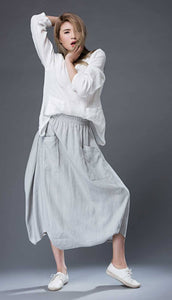 Modern Gray Skirt - Linen Casual Comfortable Everyday Trendy Contemporary Designer Women's Skirt C869