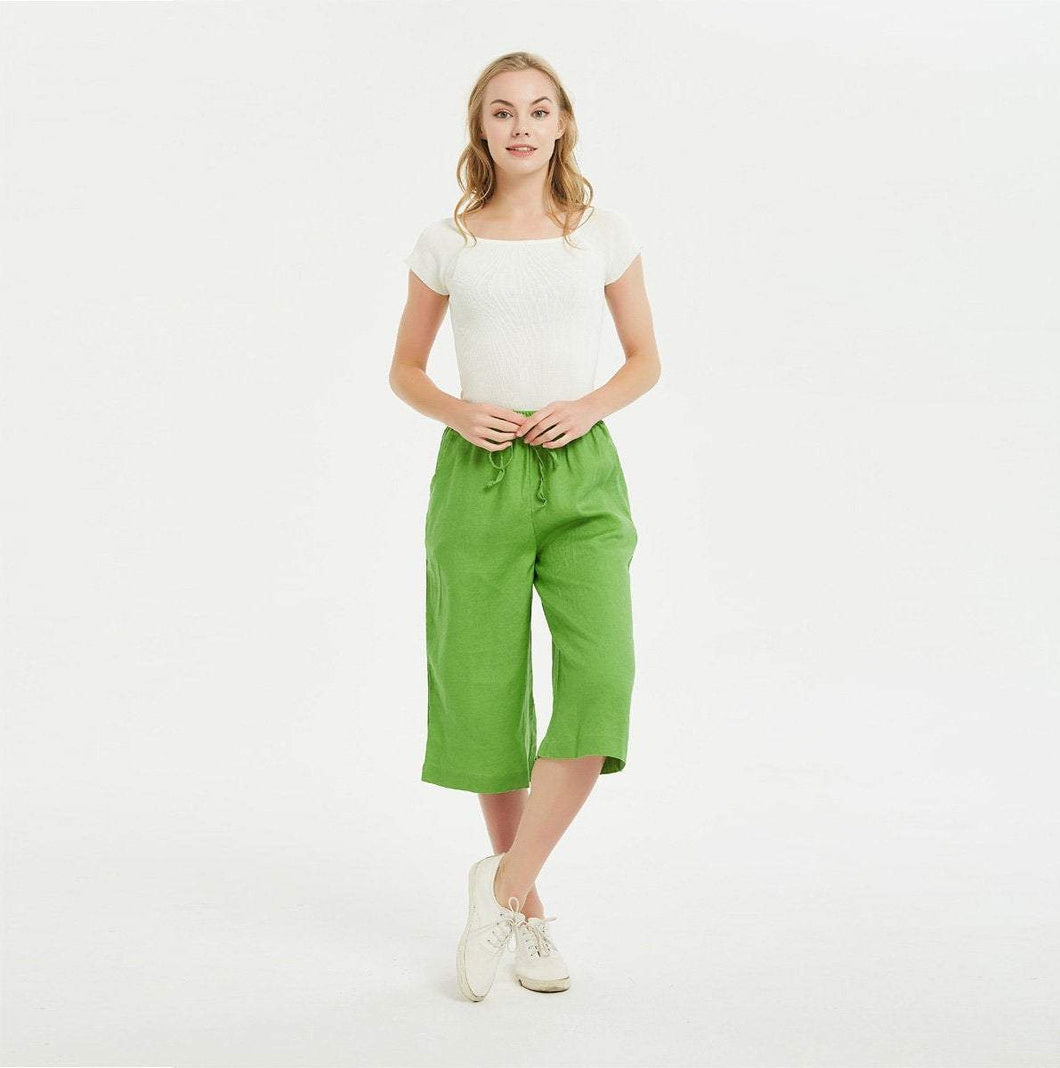 Linen Culotte Pants, Linen Pants with Elastic Waistband, Linen Pants for Woman, Linen Pants, Linen Wide Leg Pants, Culottes for Women C1480