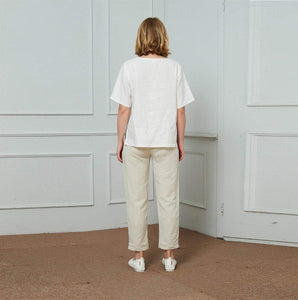 Linen pants, Vintage linen Cropped Trouser Pants, linen Straight Leg pants, Linen Pull-On Pants C1465