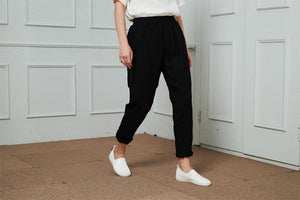 Linen narrow-leg regular length pants C1466