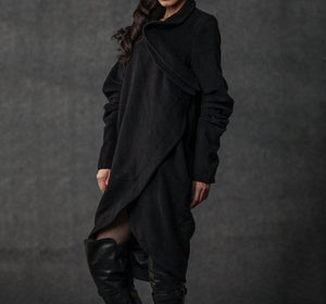 winter coat, trench coat, coat, jacket, wool coat, black jacket, womens coats, long coat, asymmetrical coat, black winter coat  (C026 BLACK)