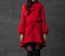 Load image into Gallery viewer, plus size coat, red coat, short coat, jackets, coats, women coat, asymmetrical Collar, wool coat, Wool jacket (C798)