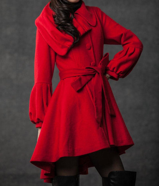 plus size coat, red coat, short coat, jackets, coats, women coat, asymmetrical Collar, wool coat, Wool jacket (C798)