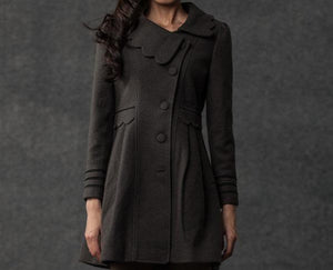 Gray Winter Coat - Woman's Outerwear Charcoal Grey Feminine Coat with Large Collar & Picot Edging C382 (CF126)