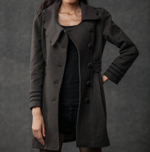 Load image into Gallery viewer, Gray Winter Coat - Woman's Outerwear Charcoal Grey Feminine Coat with Large Collar & Picot Edging C382 (CF126)