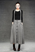 Load image into Gallery viewer, Wool Suspender skirt, pleated skirt, winter skirt, long skirt, womens skirts, maxi skirt, houndstooth skirt, button skirt, pocket skirt C049