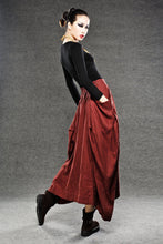 Load image into Gallery viewer, Red Linen Maxi Skirt - Long Length with Asymmetrical Hemline, Ruched Detail and Deep Side Pockets Fall Autumn/Winter Fashion C050