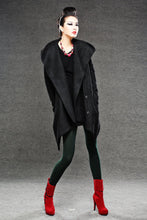 Load image into Gallery viewer, Black Winter Pea Coat - Wrap Around Short Hooded Womens Coat with Asymmetrical Hem (C038)