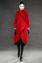 Load image into Gallery viewer, Wool Coat, red coat, jacket, winter coat, long coat, Asymmetrical coat, red wool coat, warm coat, womens coat, loose coat  C026