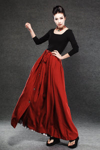 Red Linen Skirt - Maxi Skirt Long Women's Skirt Simple Design Versatile Handmade Clothing C055