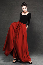 Load image into Gallery viewer, Red Linen Skirt - Maxi Skirt Long Women's Skirt Simple Design Versatile Handmade Clothing C055
