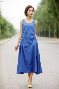 Blue dress, linen dress, loose linen dress, women dress, wrap linen dress, linen dress woman, summer linen dress, sleeveless dress  C155