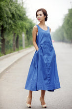 Load image into Gallery viewer, Blue dress, linen dress, loose linen dress, women dress, wrap linen dress, linen dress woman, summer linen dress, sleeveless dress  C155