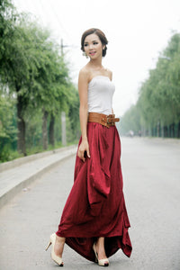 Red Maxi Linen Skirt - Long Skirt Feminine Unique Design Draped Fabric Wedding Party Skirt C154