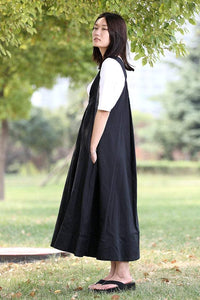 Black Pinafore Dress - Loose-Fitting Cool Long Black Maxi Linen Summer Suspender Dress Plus Size Clothing (C279)