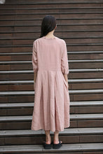 Load image into Gallery viewer, Lagenlook Pink Dress - Casual Linen Loose-Fitting Pleated Shirt Day Dress with Asymmetrical Hemline & 3/4 Sleeves C276