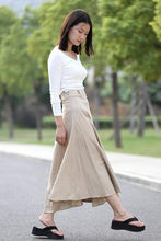 Load image into Gallery viewer, Beige Linen Skirt - Modern Casual Everyday Flattering Slim-Fitted Calf Length Versatile Woman's Skirt C290