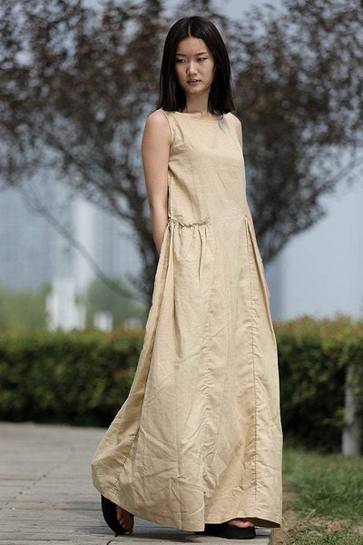 Maxi Linen Dress - Beige Loose-Fitting Sleeveless Lagenlook Summer Sundress in Neutral Color with Big Pockets C259