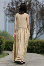 Load image into Gallery viewer, Maxi Linen Dress - Beige Loose-Fitting Sleeveless Lagenlook Summer Sundress in Neutral Color with Big Pockets C259