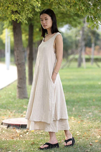 Cream Linen Dress - Layered Lagenlook Long Sleeveless Loose-Fitting Casual Comfortable Maxi Plus Size Dress C282
