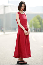 Load image into Gallery viewer, Maxi Red Dress - Linen Sleeveless Cool Comfortable Casual Loose-Fitting Summer Women's Dress with Pintuck Details and Pockets C349