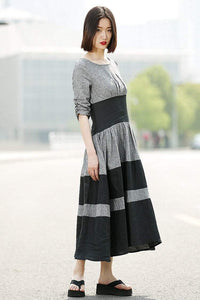 Gray Linen Dress - Black Grey Stripey Fit & Flare Elegant Dress with Round Neck and Ruched Sleeves (C350)