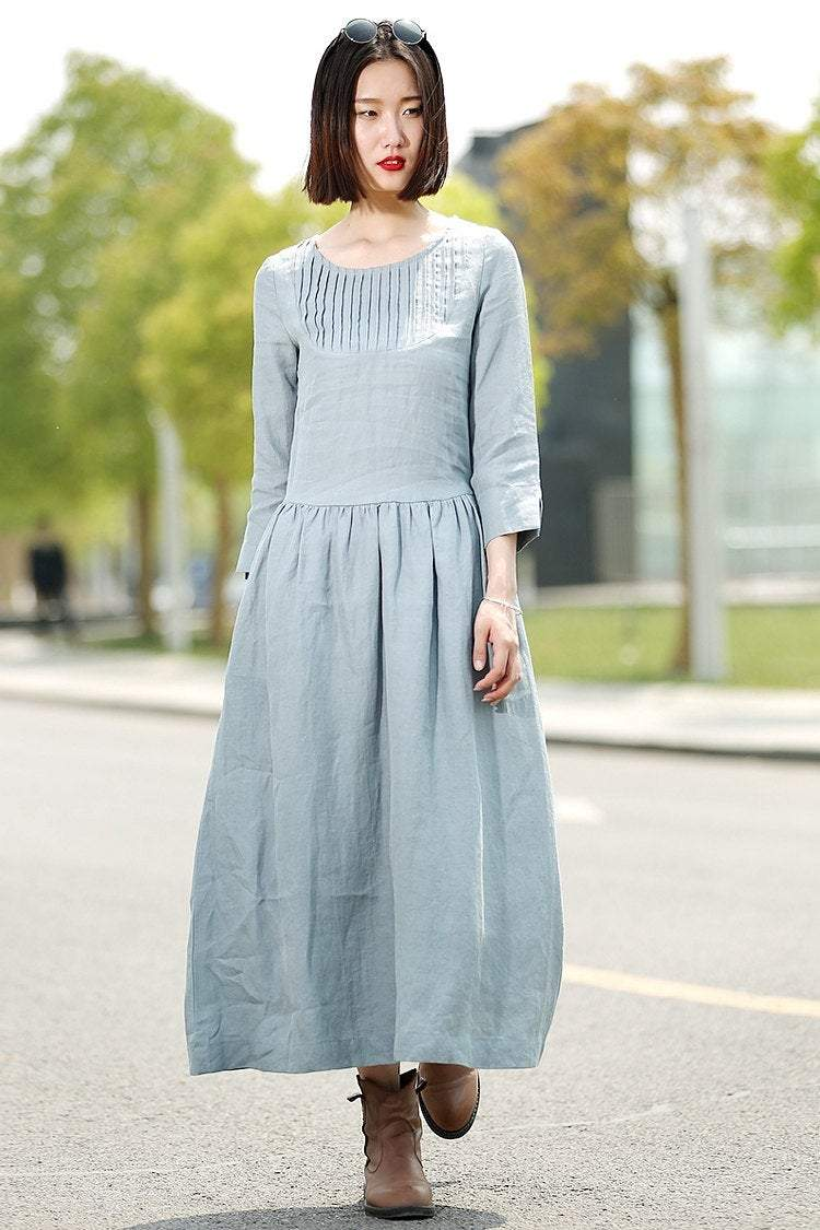 Blue Linen Dress - Long Maxi Casual Summer Loose-Fitting Comfortable Woman's House or Everyday Dress C359