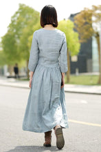 Load image into Gallery viewer, Blue Linen Dress - Long Maxi Casual Summer Loose-Fitting Comfortable Woman's House or Everyday Dress C359
